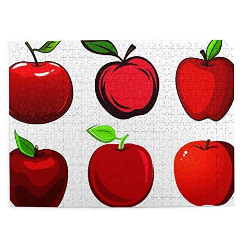 CVSANALA Rompecabezas con Imágenes 500 Piezas,Manzanas Rojas Frescas y maduras Frutas con Hojas Verdes y Piel Suave y Brillante Aislado en Blanco Ba,Juego Familiar Arte de Pared Regalo,20.4' x 15'