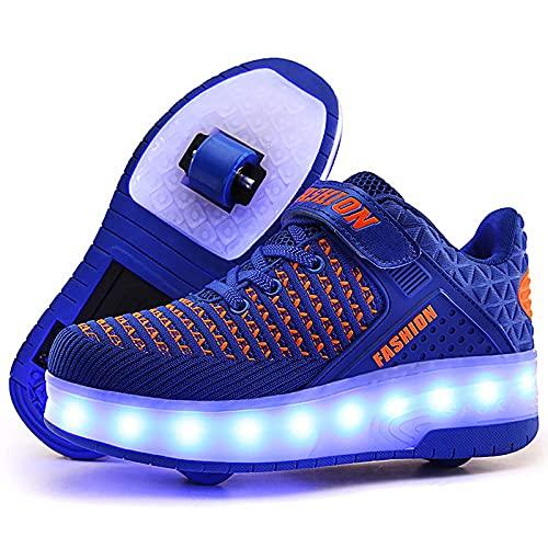 AMXSML Patines LED de carga USB de moda de los entrenadores de patín parpadeante zapatilla de deporte extraíble zapatos al aire libre Cross Sport Trainer, azul, 30EU