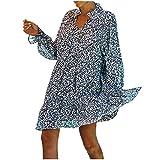 FEANG Vestidos para mujer Reino Unido Liquidación de las mujeres cuello suelto camisa estampada manga larga vestido, azul oscuro, X-Large