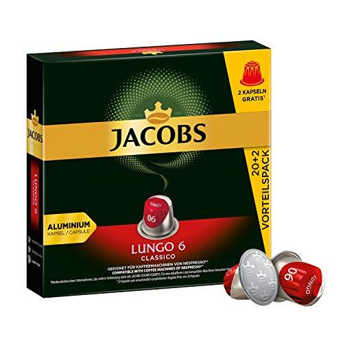 Jacobs Kaffeekapseln Lungo Classico, Intensität 6 von 12, Vorteilspack, 220 Nespresso®* kompatible Kapseln, 10 x 22 Getränke, nur für kurze Zeit