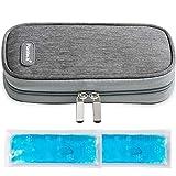 Sac Isotherme pour Diabétique Pochette Stylos à Insuline Voyage Avion à 2 Packs de Glace (Gris)