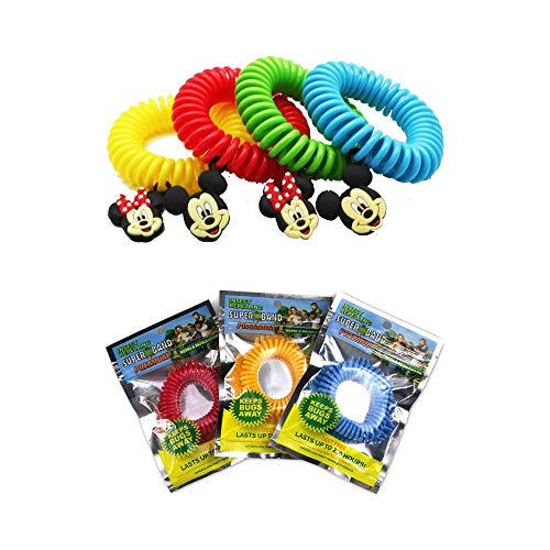 Superband Premiums (25 Pack) Individually Wrapped All Natural Mosquito Repellent Bracelets + Superband Classic Disney (25 Pack) All Natural Insect & Mosquito Repelling Wristband with Mickey and Minnie
