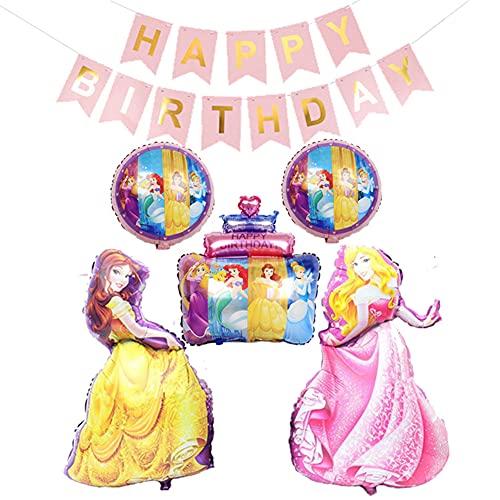 Globos de Princesas, BESTZY Globos de Princesas Disney, Decoraciones de Cumpleaños de Princesa, Globos de Feliz Cumpleaños Para Fiestas de Cumpleaños Infantiles