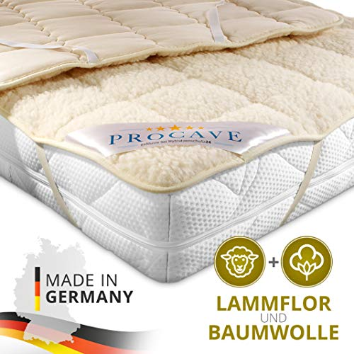 PROCAVE weiches Unterbett mit Lammflor und Schurwolle, hochwertige Matratzen-Topper, Matratzen-Schoner mit 4 Eckgummis, Matratzen-Auflage 200x200 cm