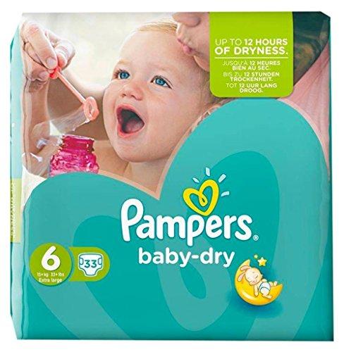 Pampers Baby-Dry - Pañales gigantes (tamaño 6 (15kg) x 33 (lote de 2)