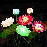 Luces solares de flores para jardín al aire libre, paquete de 2 hermosas flores de loto con energía solar, IP65, luz solar impermeable para jardín, patio, patio y jardín