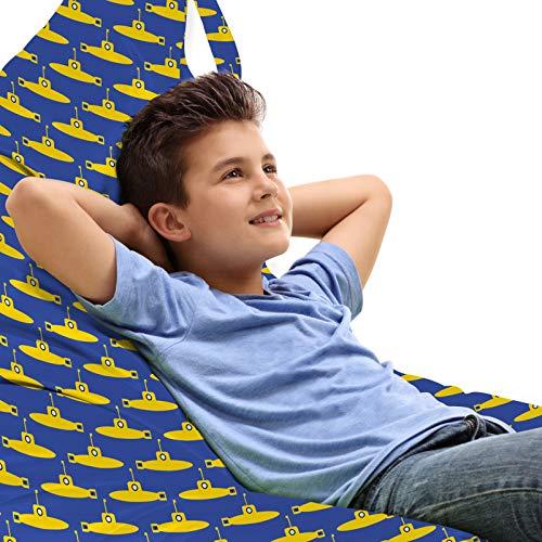 ABAKUHAUS U-Boot Unicorn Toy Bag Lounger Stuhl, Piktogramm Muster Ozean, Hochleistungskuscheltieraufbewahrung mit Griff, Senf und Persisch Blau