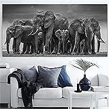 Dropship pintura en lienzo moderna carteles grandes cuadros artísticos de pared elefantes carteles decorativos de animales e impresiones para la sala de estar 60x120 CM (sin marco)