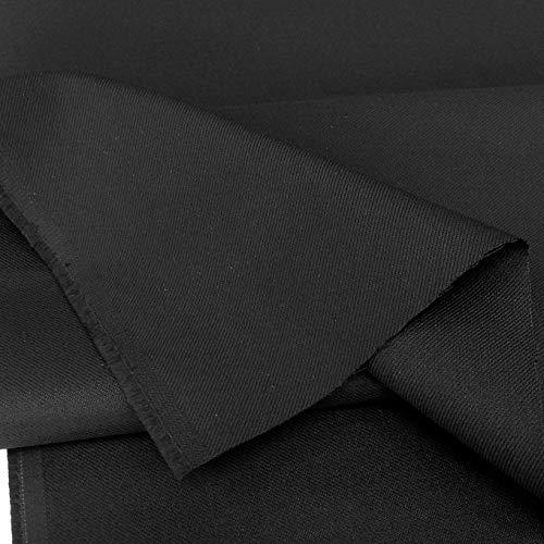 TOLKO schwarzer Stoff wie Jeans   Robust Farbecht UV-beständig   Uniform Meterware aus Baumwoll-Gewebe   mittelschwer 150cm breit (Schwarz)