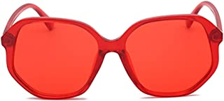 Fashion Color Outdoor Driving Glasses UV400 Unisex Europe and The United States Fashion Irregular Large Border Sunglasses Retro (Color : Red)