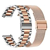 TRUMiRR Band Sets for Vivomove HR/Vivoactive 3 Rose Gold Smart Watch, 20mm Stainless Steel Metal Watchband + Mesh Strap Quick Release for Garmin Forerunner 245/645 Music, Venu, Vivomove 3/Luxe/Style