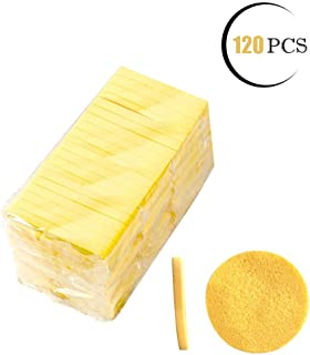 Facial Sponge Compressed,PVA Professional Makeup Removal Wash Round Face Sponge Pads Exfoliating Cleansing for Women (120 Pcs, Yellow)
