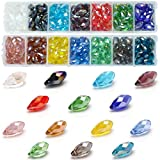 Crystal Drops Pendant Beads for Jewelry Making - Wholesale Crystals Teardrop Shaped Drilled ( 6x12mm 14 Colors 280pcs ) AB Crystal Beads for Earrings, Nacklace, Bracelet,