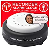 FIVE SENSES - Pill Reminder Atomic Talking Clock - Voice Recordable Talking Alarm Clock with Multiple 10 Wake Up Alarms Settings. Message for Mom and Dad or Visually Impaired People 1623mic10