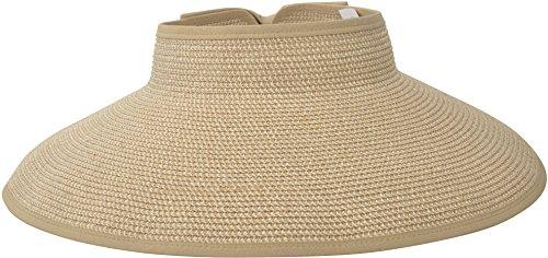 Simplicity Women's Straw Sun Hat Wide Brim Roll-up Sun Visor Hat Beige Brown