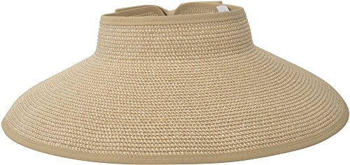 Simplicity Women's Wide Brim Roll-up Straw Hat Sun Visor Beige Brown