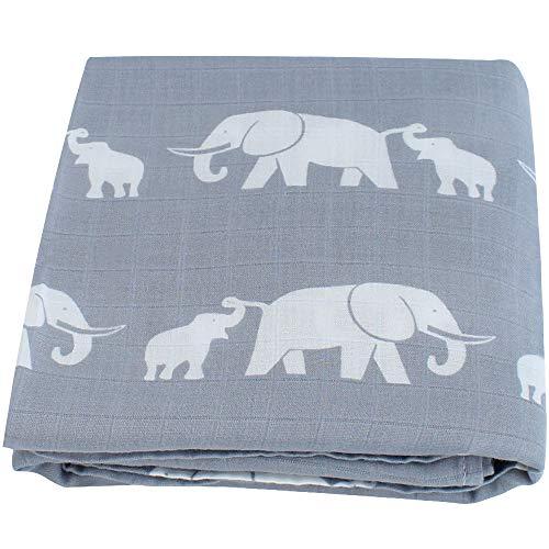 LifeTree Weichen Musselin Pucktücher, 120 x 120 cm Bambus/Baumwolle Swaddle Blanket, Mullwindeln für Junge und Mädchen (Elefant)