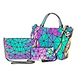 Women Geometric Luminous Purses and Handbags...