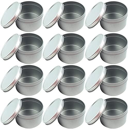 Tarros para Hacer Velas,12 latas Tarros Redondos de Aluminio Para Velas con Tapas Recipientes Para Vela para Hacer Velas DIY Almacenamiento en Seco