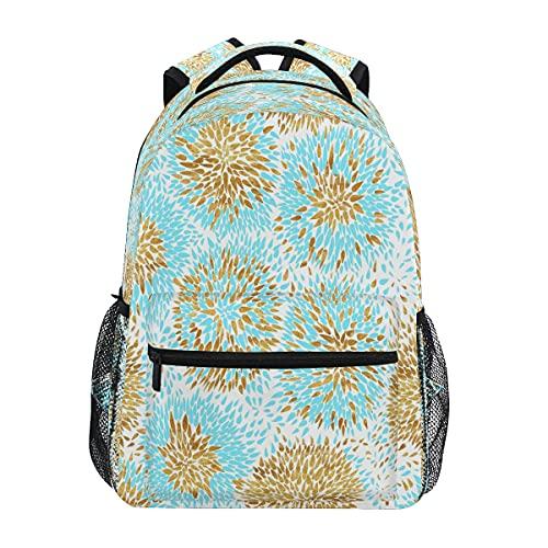 Mochila con estampado de hojas doradas y azul marino para adultos y adolescentes universitarios para el hombro, mochila de viaje y trabajo de negocios