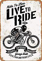 メタルリリーフライブでカスタムバイクに乗るヴィンテージの外観の再現屋内および屋外での取り付けが簡単なガレージ用のアルミニウムメタルサイン