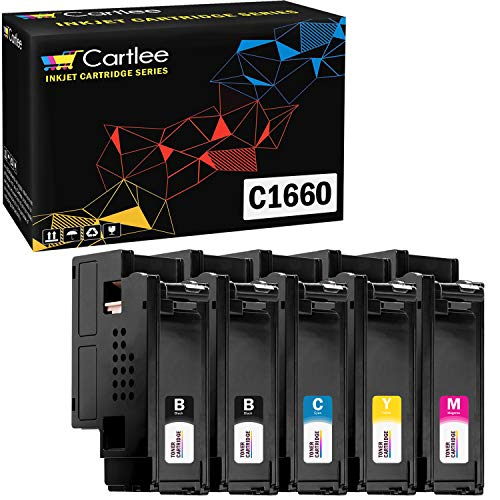 Cartlee Set of 5 Compatible High Yield Laser Toner Cartridges Replacement for Dell C1660, C1660W, C1660cnw, 1660, 1660w, 1660cnw 4G9HP Printers (2 Black, 1 Cyan, 1 Magenta, 1 Yellow)