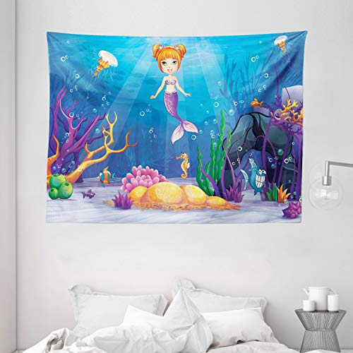 Ambesonne Mermaid Tapestry, Underwater World with Little Mermaid and Different Type of Fish Artwork, Wide Wall Hanging for Bedroom Living Room Dorm, 80