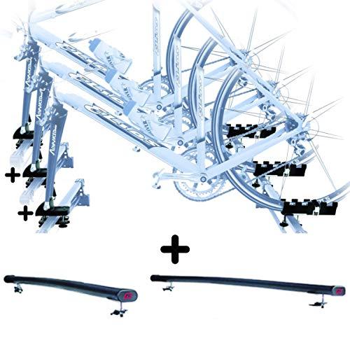 PROPOSTEONLINE Tre Portabici da Tetto Auto Compatibile per Mazda 6 SW 5p (2009 in Poi) 3X Porta Biciclette Attacco Bici a Forcella Set Barre Portatutto