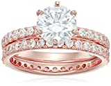 Rose-Gold Plated Sterling Silver Round Ring Set made with Swarovski Zirconia (1 Carat Center Stone), Size 6