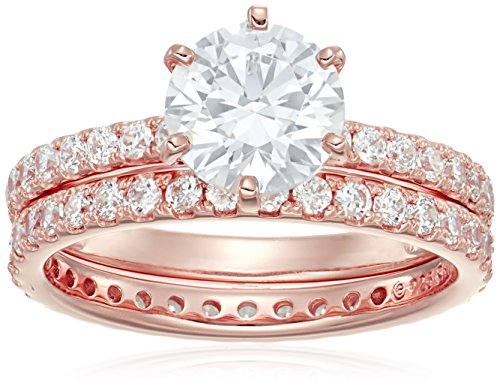 Rose-Gold Plated Sterling Silver Round Ring Set made with Swarovski Zirconia (1 Carat Center Stone), Size 8