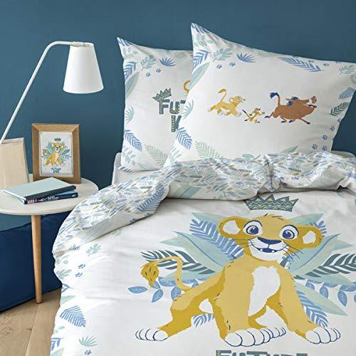 Roi Lion Parure de lit Housse de Couette 140X200 + Taie d'oreiller 63X63 Cm 100% Coton Jungle