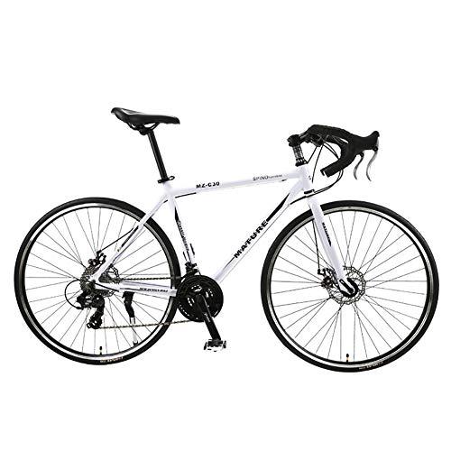 Bicicleta de carretera para hombres y mujeres, 700C aleación de aluminio de la curva del manillar de carreras con SHIMANO SORA 30 Desviador velocidad Sistema de freno de disco y dobles,White black