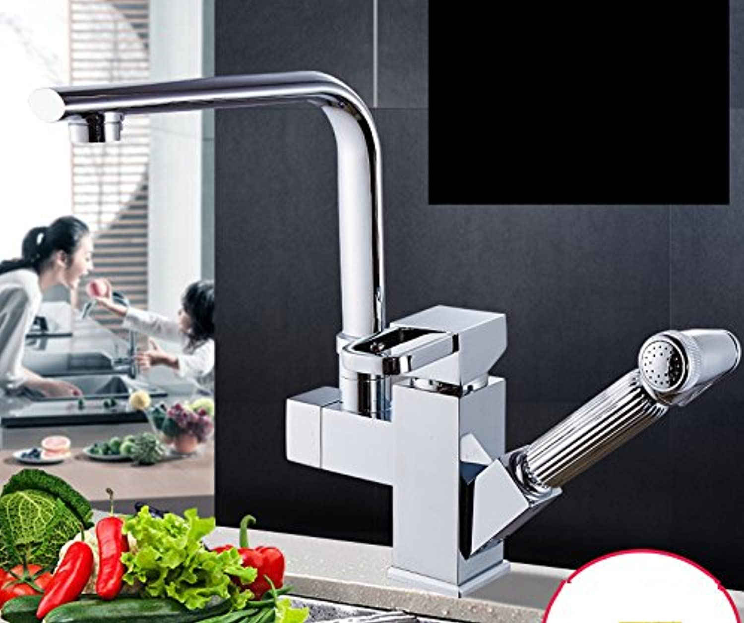 Bijjaladeva Antique Bathroom Sink Vessel Faucet Basin Mixer Tap Pull the hot and cold kitchen faucet full copper 000 to turn the telescopic plating
