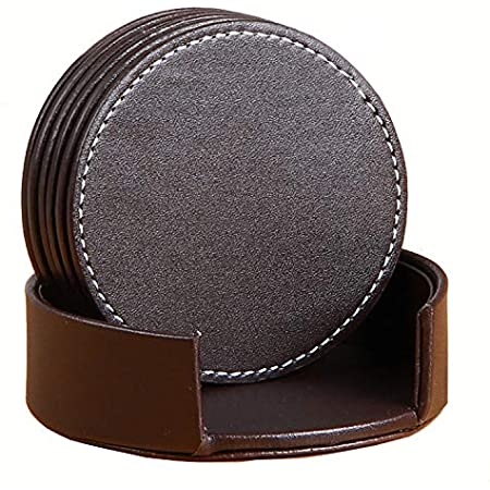 Leather Coasters 6 Pcs PU Coaster set with Holder Protect Furniture Brown Square