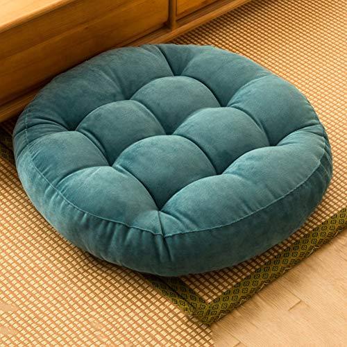 2 piezas de peluche Futon Mat cojín de asiento, estilo japonés, simplemente cord, cojín de asiento, grueso, restaurantes, tatami, suelo, cojín en el suelo, piel, A azul., 55cm(22inch)
