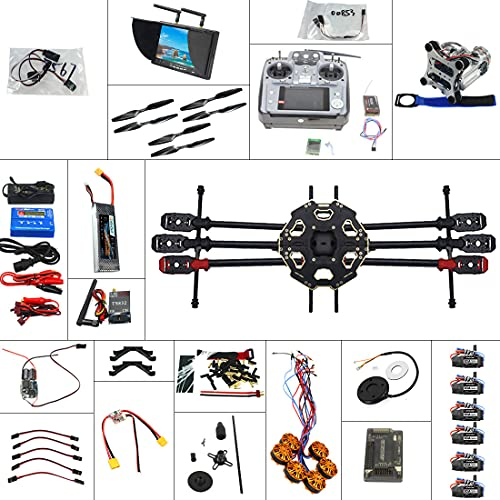 QWinOut Full Combo Set Unassembly DIY 6-Axle 2.4G 10ch RC Hexacopter Drone ARF: Tarot 680PRO Frame + APM 2.8 Flight Control GPS + AT10 Transmitter Receiver + FPV System + 2-Axis Gimbal