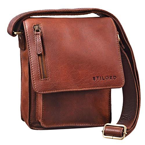 STILORD 'Finn' kleine Umhängetasche Herren Schultertasche Vintage Messenger Bag 8,4 Zoll Tablettasche echtes Büffel-Leder, Farbe:maraska - braun