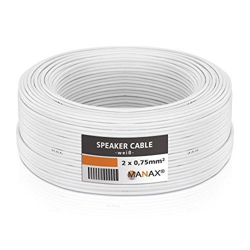 Manax sc2075w Cable de Altavoz 2X 0.75 mm² cca (Altavoz/Cable de Audio),...