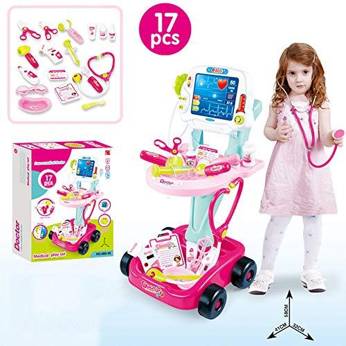 Toy Children's Doctor Medical Cart Cosplay Set, Doctor Carrito Juego de simulación, Caja de Almacenamiento de Juguetes de Estetoscopio de Kit médico, Juguetes educativos para niños en Edad Preescolar