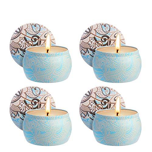 Zeonetak Citronella kaarsen, 4 stuks muggenbescherming kaarsen mini wit 4,8 oz elk citroengras 100% natuurlijke soja was geurkaarsen binnen en buiten Citronella Kerzen