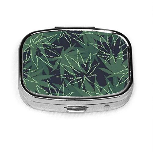 Pastillero cuadrado personalizado de marihuana ganja marihuana marihuana marihuana marihuana caja decorativa contenedor de vitaminas bolsillo o cartera