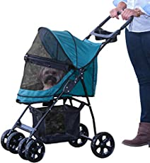 Pet Gear No-Zip Happy Trails Lite Pet Stroller for Cats/Dogs, Zipperless Entry, Easy Fold with Removable Liner, Storage Basket + Cup Holder, Juniper (PG8030NZJR)