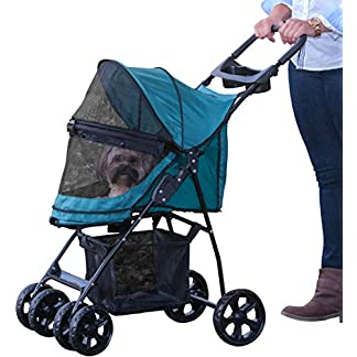 Pet Gear No-Zip Happy Trails Lite Pet Stroller for Cats/Dogs, Zipperless Entry, Easy Fold with Removable Liner, Storage Basket + Cup Holder, Pine Green (PG8030NZPGA) 16