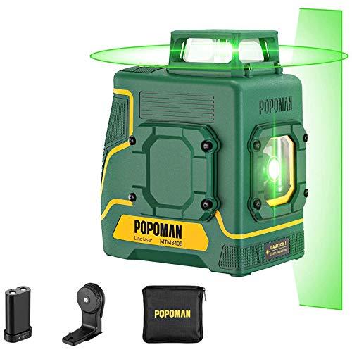 Nivel láser verde POPOMAN, 1x360° línea láser 30m, Carga USB y Batería de litio, 5 Líneas y 360° Giro, Autonivelante, Modo pulsado externo, Soporte Magnético, IP54, Bolsa de transporte - MTM330B
