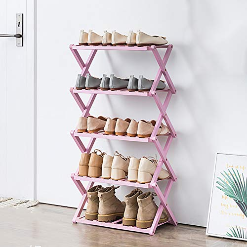 Almacenamiento Organizador De Rack De Zapatos De Bambú De 5 Niveles,Plegable Porta Zapateros Pequeños Apilables,Estante Zapatero,Estante De Zapatos Para El Armario Del Pasillo-Rosa. 50x25x89cm(20x10x3