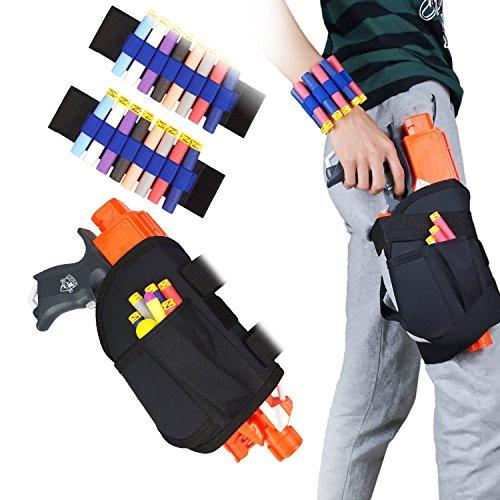 Kinder Taillen-Beutel Taktische Pistolenhalfter und 2er Handgelenk Bandolier Kit für Nerf Guns N-strike Elite Serie Blaster