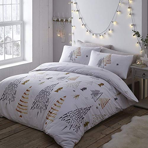 Portfolio New Christmas Trees Duvet Cover Reversible Bed Set, Multi, King