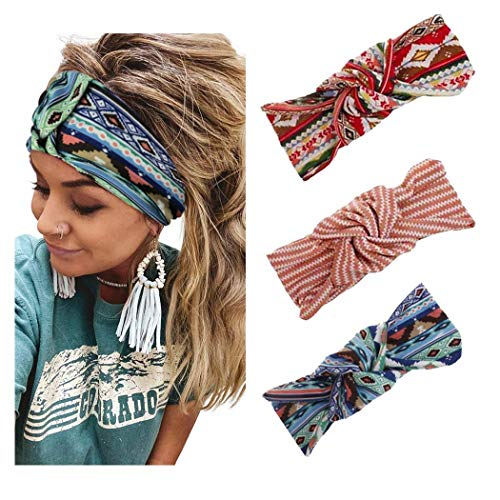 Yean - Cintas anchas para el pelo, entrecruzadas, estampadas, cintas para el pelo para mujeres y niñas (A)