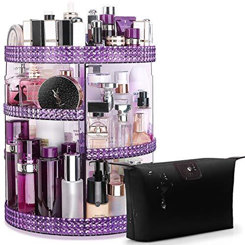 Awenia Makeup Organizer 360-Degree Rotating, Adjustable Makeup Storage, 7 Layers Large Capacity Cosmetic Storage Unit with Makeup Bag, Plus Size(Purple)