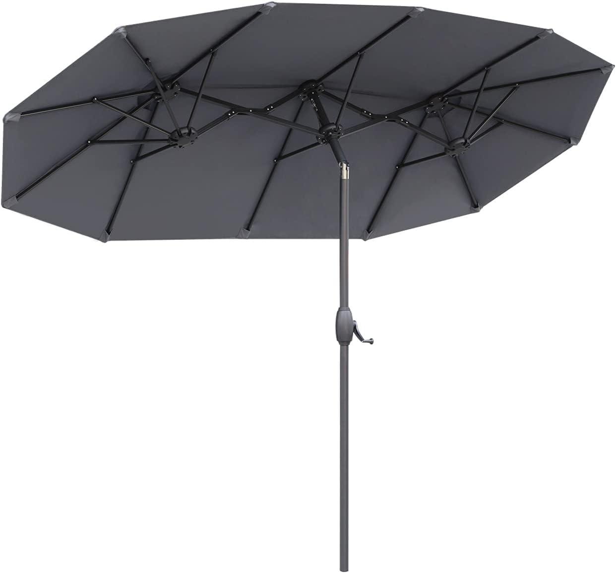 Sekey® 300 cm x 150 cm Sombrilla Parasol de Doble Juego para terraza jardín Playa Piscina Patio diámetro Protector Solar UV50+ Gris